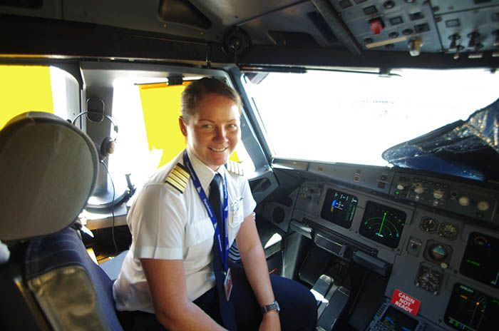 Captain Claudia takes the Airbus helm